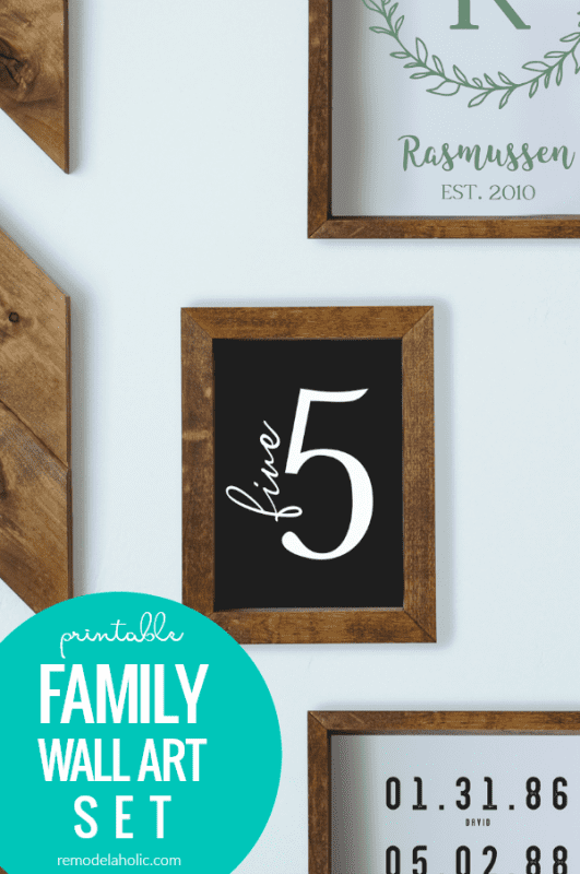 Printable Family Name Number Dates Sign Set, Instant Download #remodelaholic