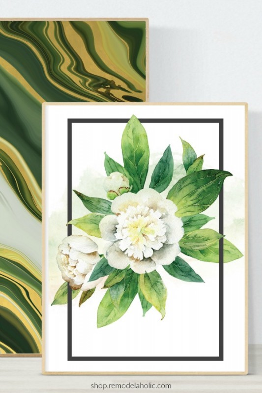 Watercolor White Floral Wall Art Printable With Green Agate Wall Art Printable, Remodelaholic