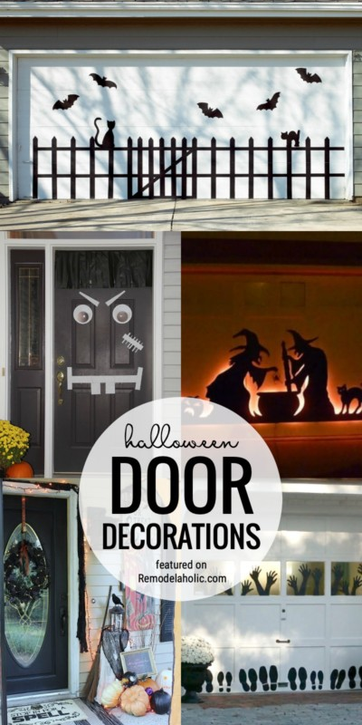 Add A Bit Of Spooky To Your Home Exterior With Halloween Door Decorations For The Garage Or Front Door Featured On Remodelaholic.com