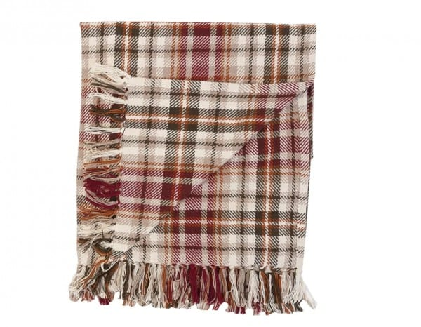 Dark Red, Brown, Yellow And Tan Plaid Blanket Folded
