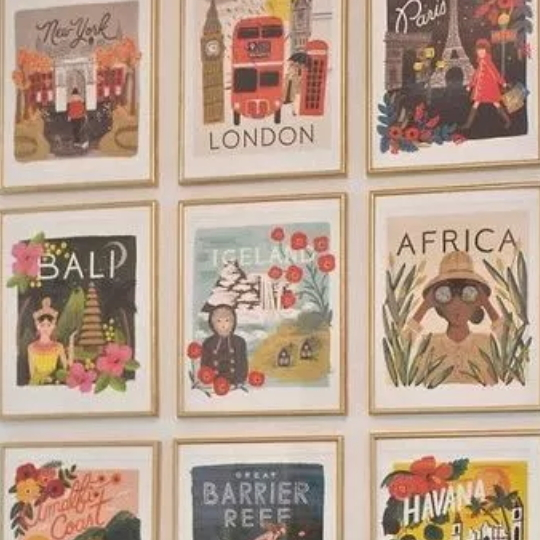 Gold Frame Collage With Colorful Vintage Destination Posters Inside, Bali, Iceland, Africa, Paris, London