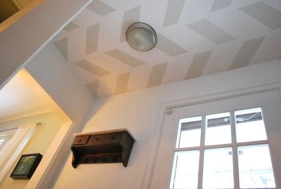 Gorgeous White And Grey Herringbone Ceiling