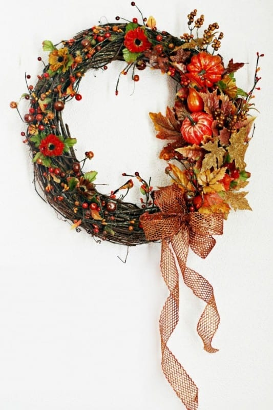 Twig Circle Wreath With Pumpkins, Fall Leaves, Flowers And Orange Bow And Berries All Gold And Orange Accents