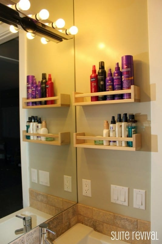 Wooden Ikea Spice Racks Hung On Bathroom Wall For Hair Products Etc