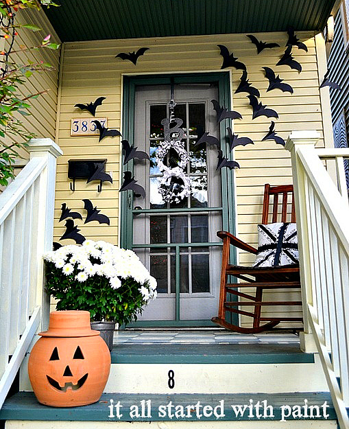Halloween Bats On Door It all started with paint