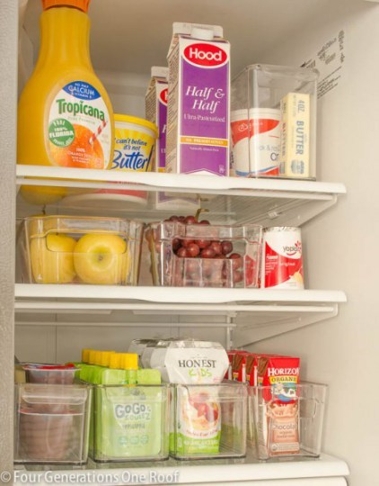 Organized Refrigerator With Clear Plastic Containers Organizing Foods