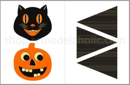 Retro Halloween Bunting Printable Garland Preview Remodelaholic