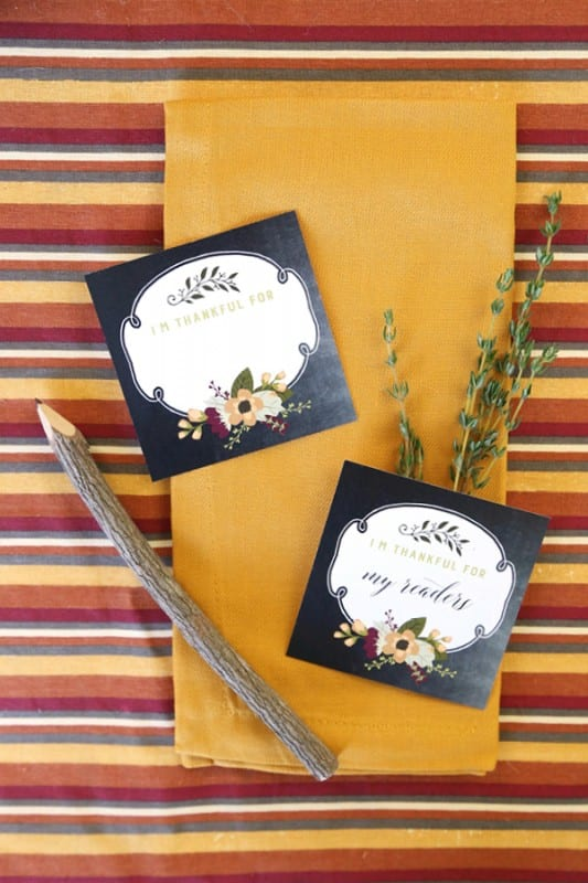 Autumn Colored Stripes And Gold Cloth Napkin With Printable Cards That Say I'm THankful For