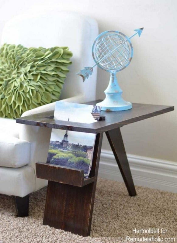Beautiful Wooden Side Table With Built In Magazine Holder