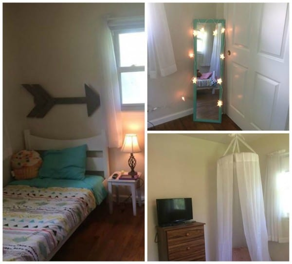 Collage Of Girls Room With Canopy Reading Nook And Lights Around Mirror