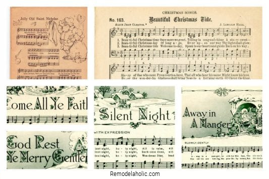 Vintage Christmas Sheet Music, Free Printable Collection From Remodelaholic
