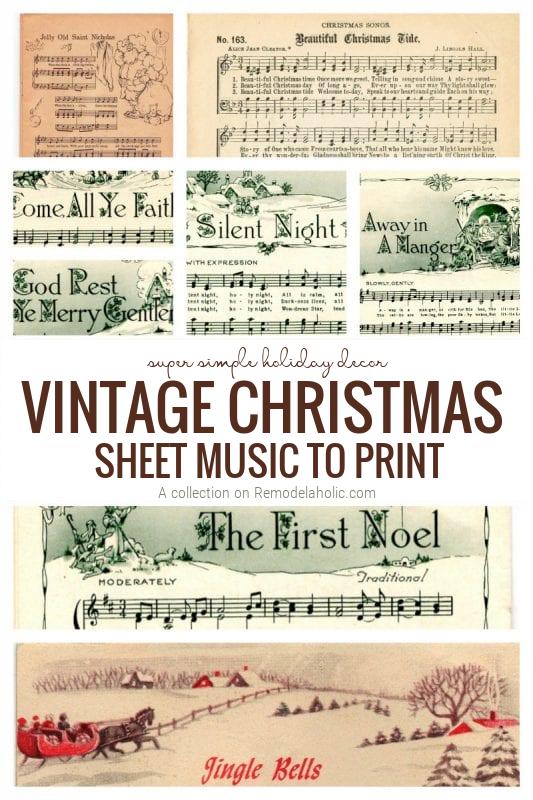 Vintage Christmas Sheet Music To Print For Holiday Decor
