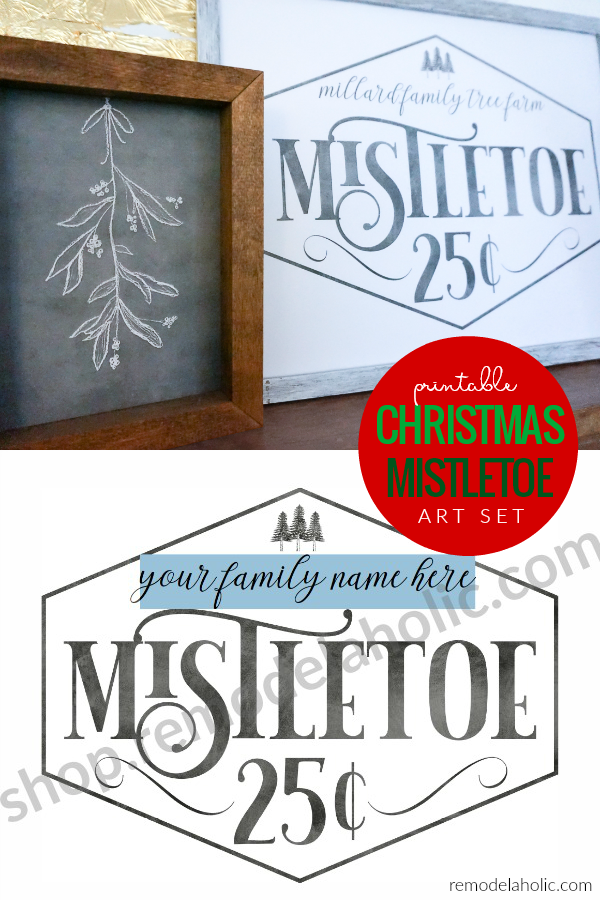 Printable Christmas Mistletoe Art Set With Custom Family Name And Chalkboard Mistletoe Drawing #remodelaholic #instantdownload