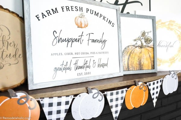 Printable Fall Mantel Decor Set, Family Name Pumpkin Patch Sign And Watercolor Pumpkin #remodelaholic