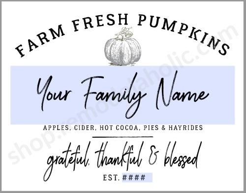 Printable Family Name Pumpkin Farm Sign #remodelaholic