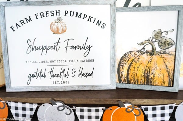 Printable Thanksgiving Decor Set, Pumpkin Farm Family Name Sign And Watercolor Pumpkin #remodelaholic
