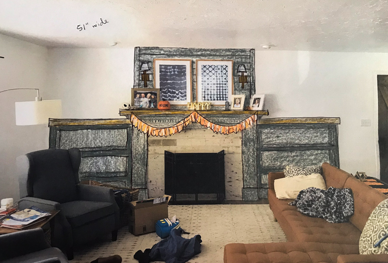 Sketch of DIY fireplace makeover changes with flanking bookshelves