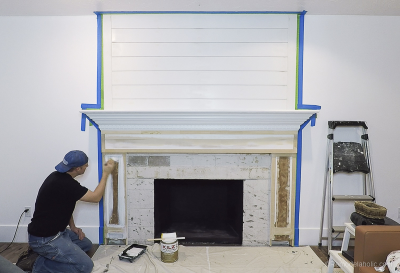 DIY Fireplace Makeover Fireplace Mantel Prime And Paint 1 (8)