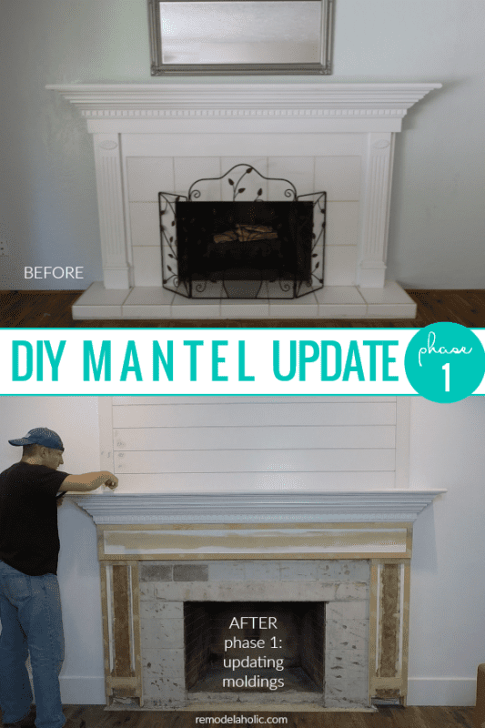DIY Mantel Update Fireplace Moldings And Trim And Remove Tile Hearth #remodelaholic