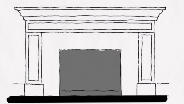 Fireplace Mantel Sketch with shaker style molding surround