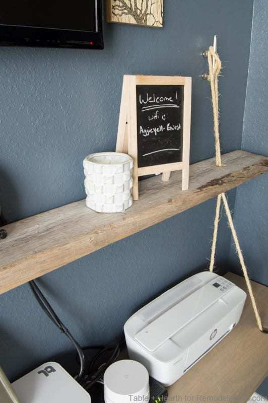 Natural Wood Hanging Shelves With Rope