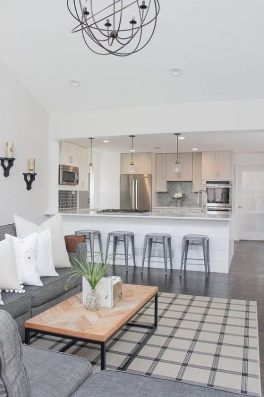White Open Kitchen And Living Space, Metal Bar Stools, Wooden Table, Grey Couch With White Windows, Chrome Kitchen Appliances