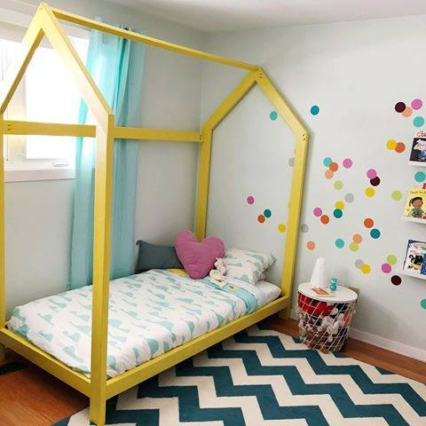 Yellow House Shaped Bed With Colorful Polka Dots Accent Wall And Chevron Rug, Colorful And Beautiful Kids Room