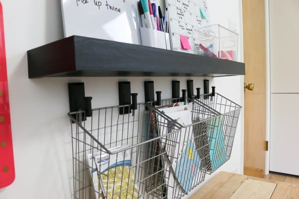 Floating Wood Shelf With Hanging Baskets, Organization Stataion With Whiteboards, Calendar And Markers