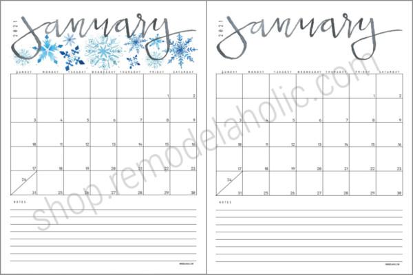 2021 Monthly Grid Calendar Watercolor Or Modern Black #remodelaholic