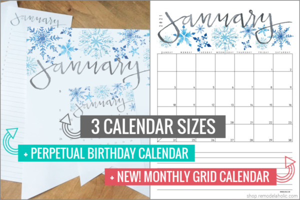 2021 Printable Calendar In Large Wall And Desk Sizes, Perpetual Birthday Calendar, Monthly Grid Calendar #remodelaholic