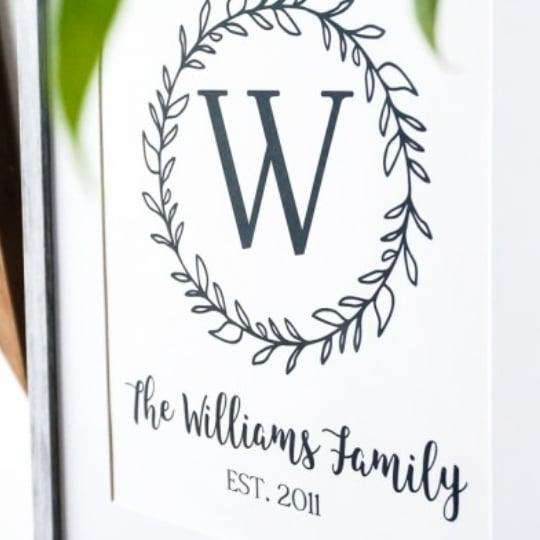 Custom Printable Farmhouse Monogram + Family Name Wall Art