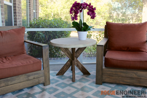 Patio Or Sunroom Furniture With Concrete X Table