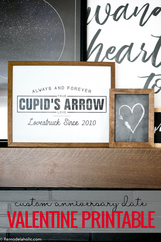 Valentine's Day Printable, Custom Anniversay Date Cupid Heart Art Set #remodelaholic