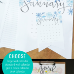 Hand Lettered Watercolor 2021 Printable Calendar In Large Wall And Desk Sizes, Perpetual Birthday Calendar, Monthly Grid Calendar