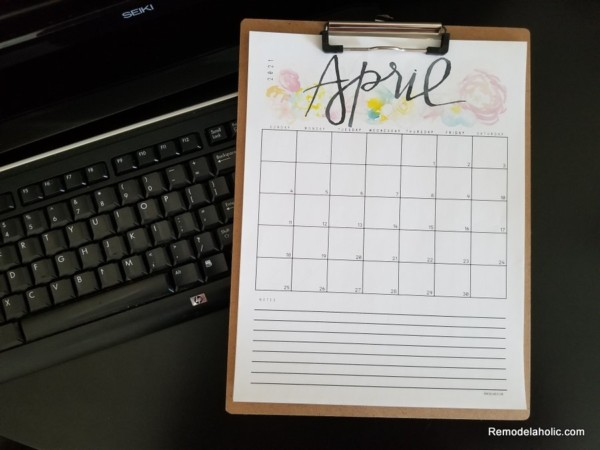 Printable Monthly Grid Calendar With Notes 2021, Vertical Page Portrait,Remodelaholic