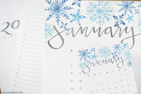 Watercolor Monthly Calendar Printable #remodelaholic