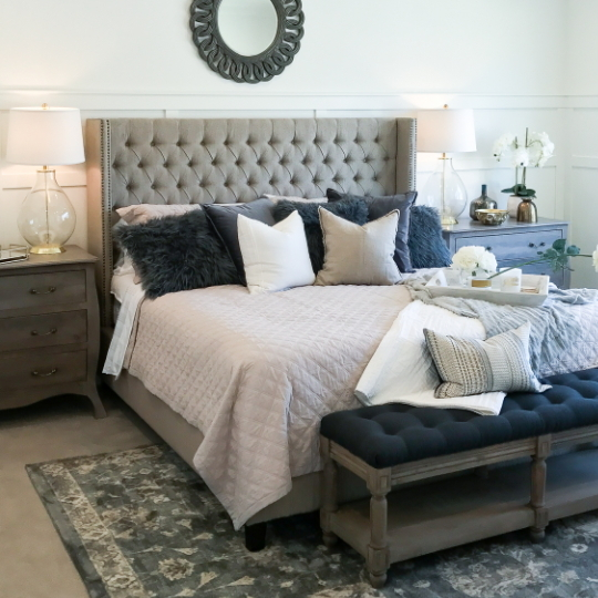 Bedroom With Whites, Greys, Blues, And Greys, Beautiful Room
