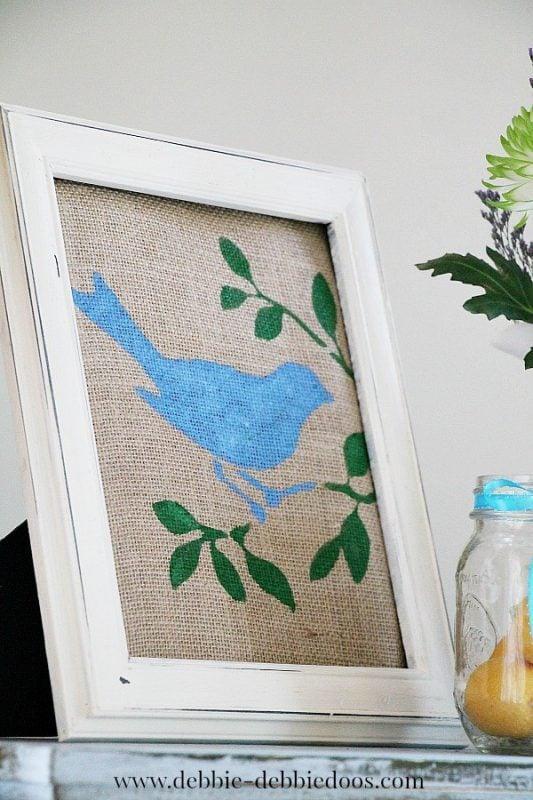 DIY Spring Decor Blue Bird On Green Leaves On Burlap, Framed