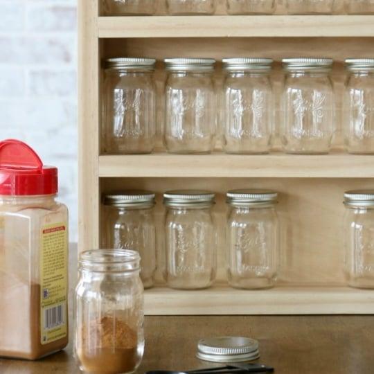 DIY Spice Rack With Mini Mason Jars