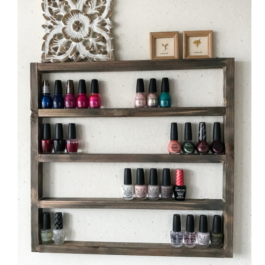 Rustic Wooden Display Shelf With Open Back 4 5 Shelves Showing A Variety Of Nail Polishes