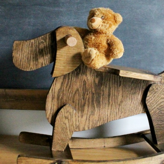 Wooden Dog Rocking Chair