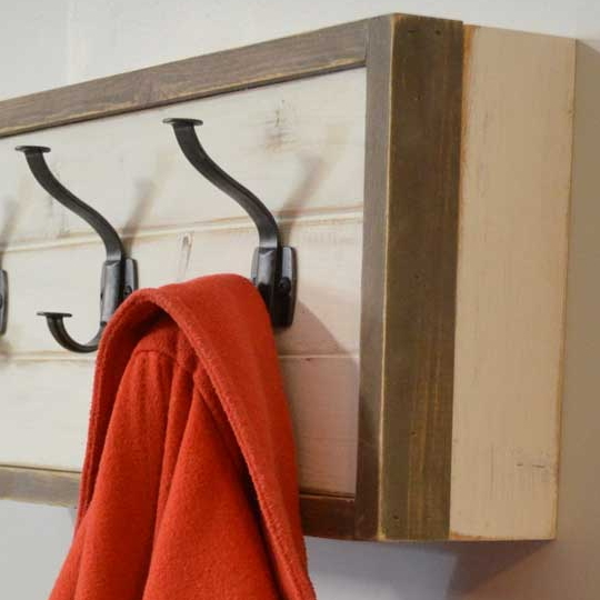Wooden Wall Coat Rack With Hidden Storage