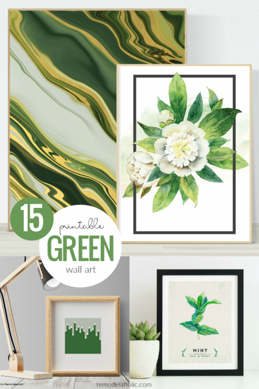 15 Printable Green Wall Art Ideas For Your Home, Living Room Wall Art, Kitchen Wall Art, St. Patrick's Day Printable Decor #remodelaholic