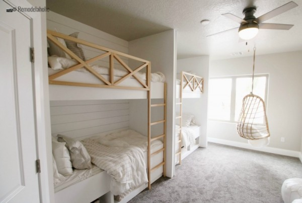 Builtin bunk room with beds and swinging hanging chair, SGPH 2019 House 05 JAR Real Estate Development, photo by Remodelaholic.com
