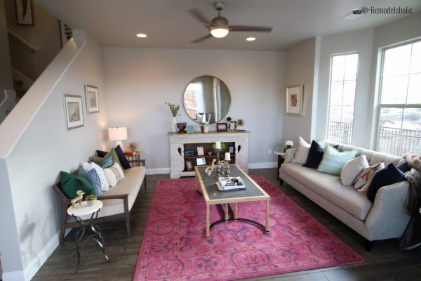Symmetrical coffee table and living room design. SGPH 2019 House 23 Ivory Southern, LLC, Photo by Remodelaholic