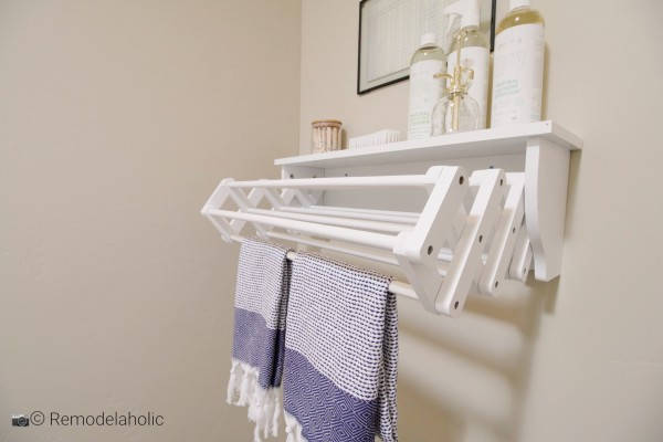 Laundry Room Shelf with drying rack featured on Remodelaholic.com's Cool Shelves to BuySLPH 2018 Home 5 Regal Homes (307)