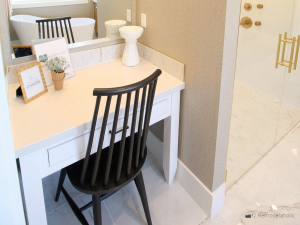 Spindle chair perfect for a bathroom vanity, UVPH 2018 Home 17 Millhaven Homes, Four Chairs Furniture & Design, photo by Remodelaholic