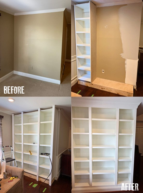 Before And After Built In Bookshelf