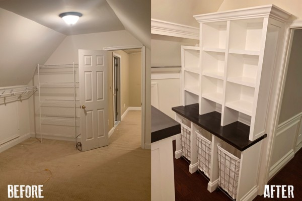 Before And After Built In Laundry Hamper