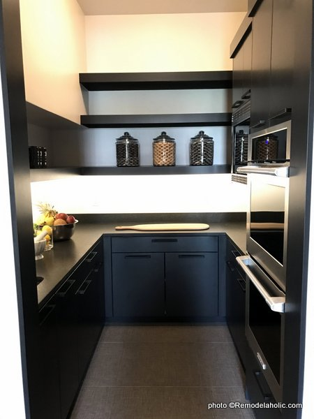 Dark Gray Kitchen Cabinets, Open Shelving, Butler's Pantry, UVPH House 27 Emerald Homes